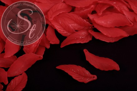 10 pcs. red acrylic-leaves frosted 39mm-31