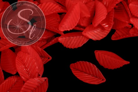 10 pcs. red acrylic-leaves frosted 35mm-31