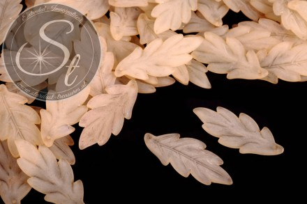10 pcs. beige acrylic-leaves frosted 43mm-31