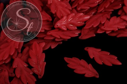 10 pcs. dark-red acrylic-leaves frosted 43mm-31