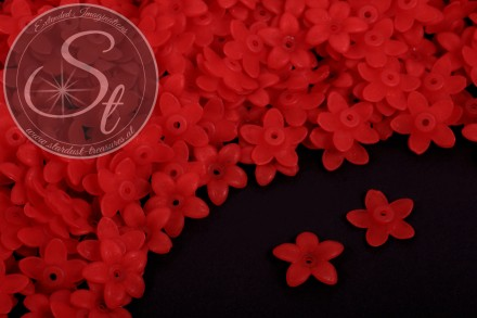 20 pcs. red acrylic-flowers frosted 17mm-31