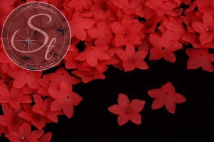 20 pcs. red acrylic-flowers frosted 20.5mm-31