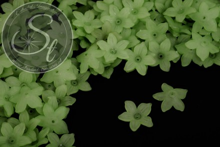 20 pcs. green acrylic-flowers frosted 20.5mm-31