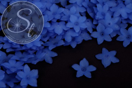 20 pcs. blue acrylic-flowers frosted 20.5mm-31