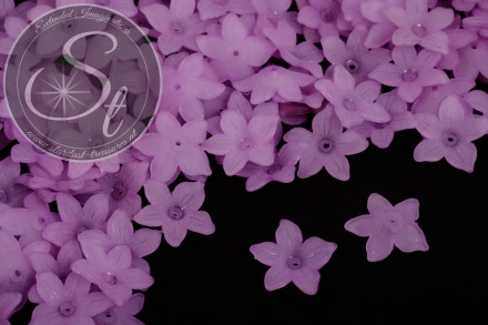 20 pcs. lilac acrylic-flowers frosted 20.5mm-31