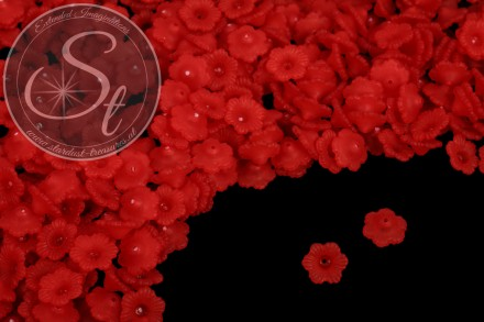 20 pcs. red acrylic-flowers frosted 12mm-31