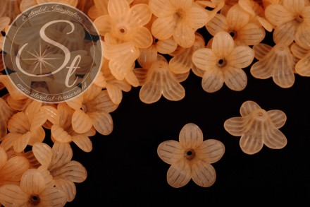 10 pcs. orange lucite-flowers frosted 24.5mm-31