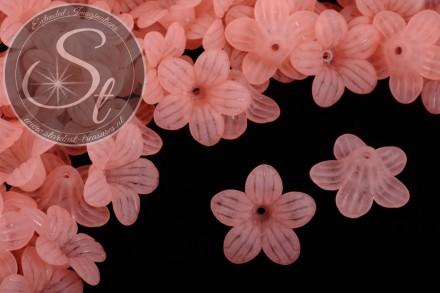 10 pcs. salmon-colored lucite-flowers frosted 24.5mm-31