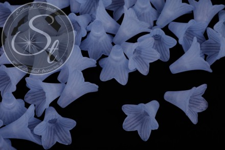 5 pcs. light-blue lucite-flowers frosted 23mm-31