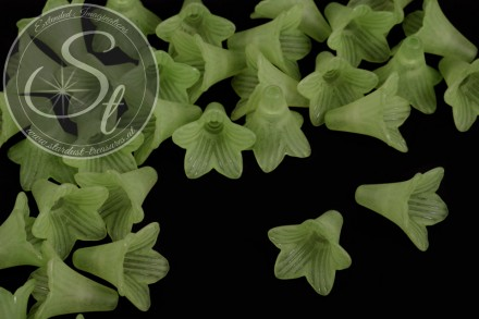 5 pcs. green acrylic-flowers frosted 23mm-31
