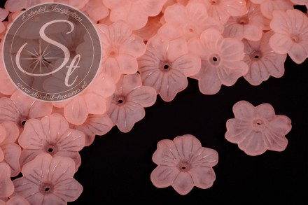 10 pcs. salmon-colored acrylic-flowers frosted 30mm-31