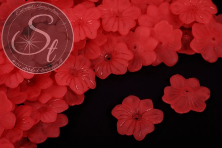 10 pcs. red acrylic-flowers frosted 30mm-31