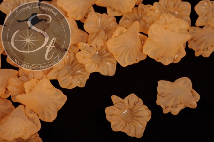 10 pcs. orange acrylic-flowers frosted 32mm-31