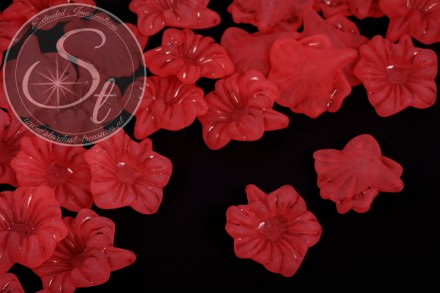 10 pcs. red lucite-flowers frosted 32mm-31