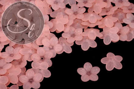 20 pcs. salmon-colored acrylic-flowers frosted 20mm-31