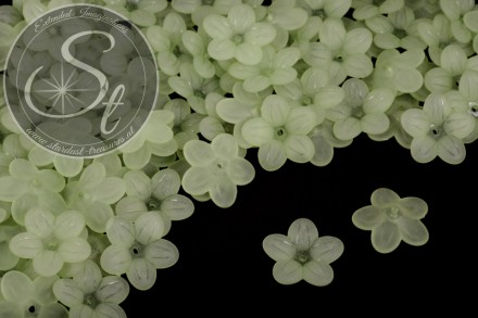 20 pcs. green acrylic-flowers frosted 20mm-31