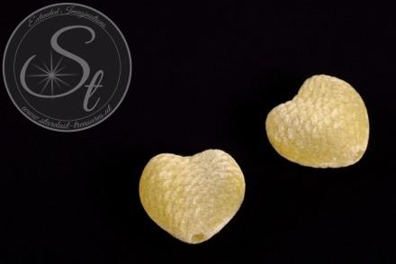4 pcs. light-yellow heart-shaped velvety-beads 25mm-31