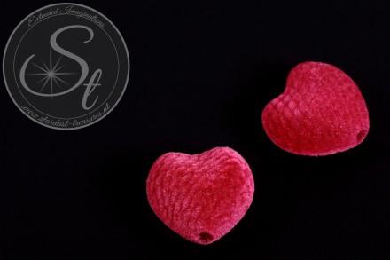 4 pcs. pink heart-shaped velvety-beads 25mm-31