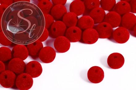 5 pcs. red velvety-beads 14mm-31