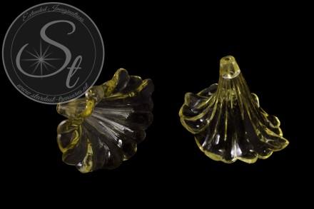 2 pcs. yellow lucite-flowers transparent 41mm-31
