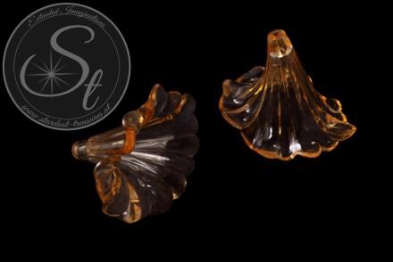 2 pcs. orange lucite-flowers transparent 41mm-31