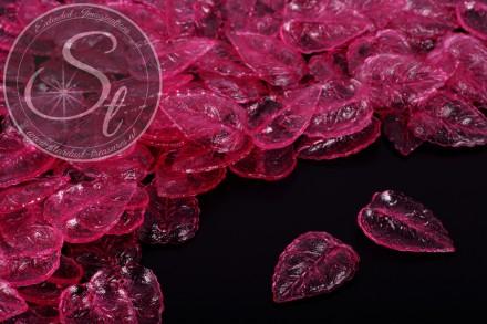 20 pcs. pink lucite-leaves transparent 27mm-31