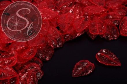 20 pcs. red acrylic-leaves transparent 27mm-31