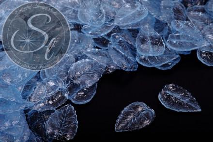 20 pcs. blue lucite-leaves transparent 27mm-31