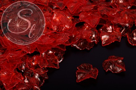 20 pcs. red lucite-leaves transparent 25mm-31