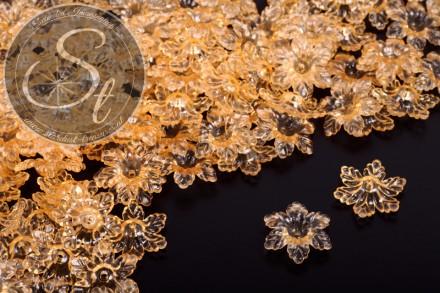 20 pcs. orange lucite-flowers transparent 19mm-31