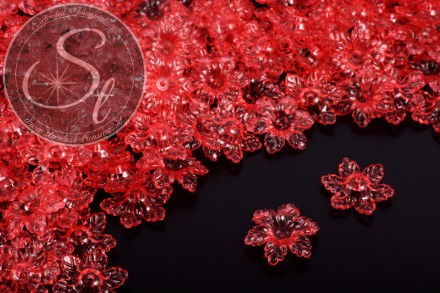 20 pcs. red lucite-flowers transparent 19mm-31