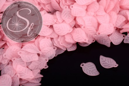 20 pcs. rose lucite-leaves frosted 17.5mm-31