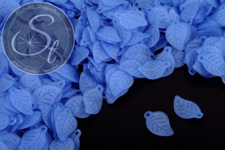 20 pcs. blue acrylic-leaves frosted 17.5mm-31