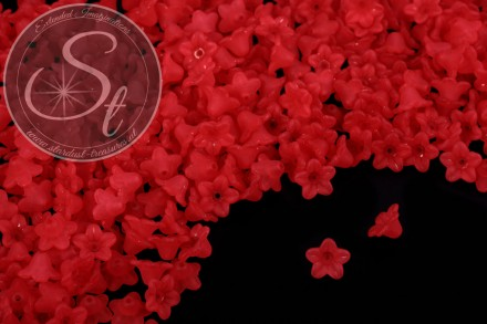 20 pcs. red lucite-flowers frosted 10mm-31