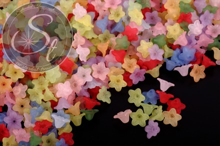 20 pcs. mixed-colors lucite-flowers frosted 10mm-31