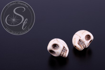 2 pcs. white skull turquoise beads 13mm-31