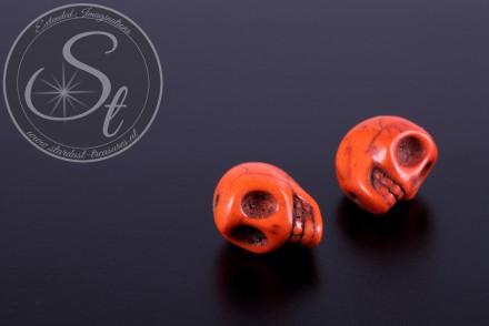 2 pcs. orange skull turquoise beads 13mm-31