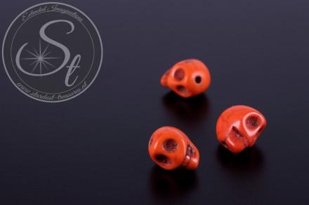 3 pcs. orange skull turquoise beads 10mm-31