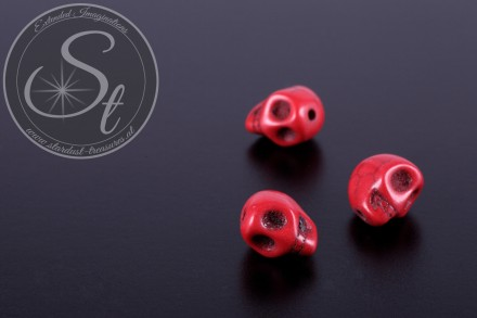 3 pcs. red skull turquoise beads 10mm-31