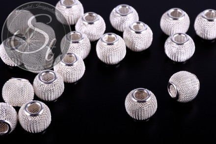 4 pcs. silver-colored metal mesh beads ~13mm-31