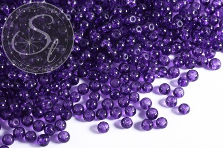 40 pcs. lilac crackle glass beads 4mm-31