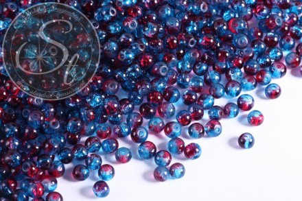 40 pcs. blue/red crackle glass beads 4mm-31