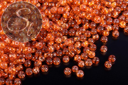 40 pcs. orange crackle glass beads 4mm-31