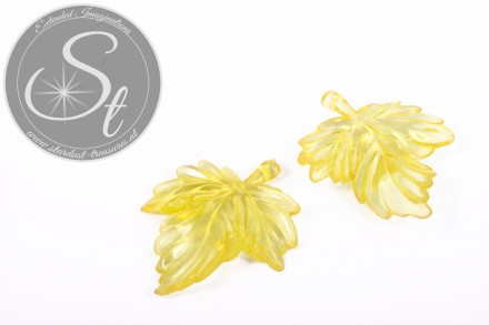2 pcs. yellow acrylic-leaves pendants transparent 48mm-31