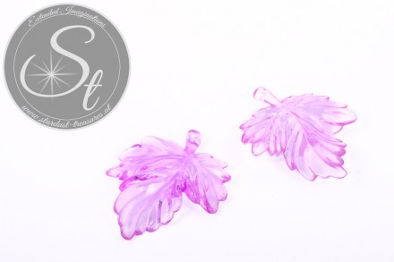 2 pcs. lilac acrylic-leaves pendants transparent 48mm-31
