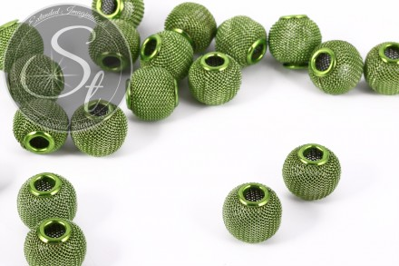 4 pcs. green metal mesh beads ~15mm-31
