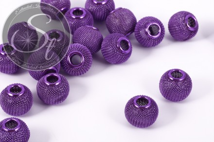 10 pcs. lilac metal mesh beads ~15mm-31
