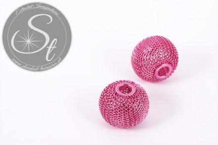 1 pc. rose metal mesh beads ~24mm-31