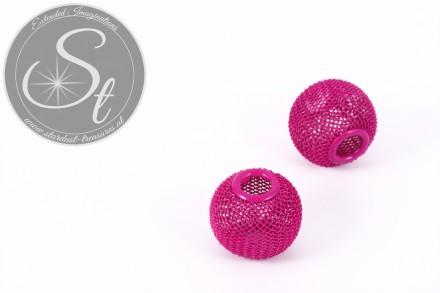 2 pcs. pink metal mesh beads ~19mm-31