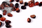 5 pcs. orange/black drop-shaped faceted agate-beads 14mm-20